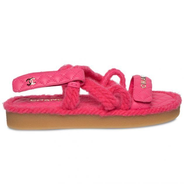 Chanel pink cord flat sandals