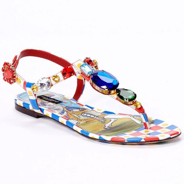 Dolce & Gabbana Carretto-print patent leather thong sandals with bejeweled appliqué