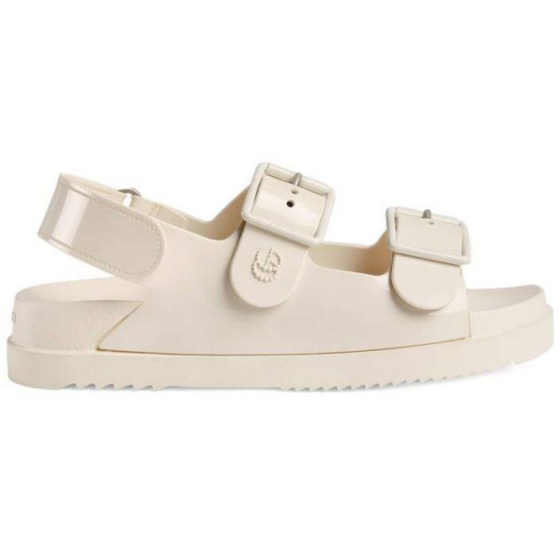 Gucci off-white sandals with mini double G
