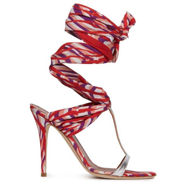 Missoni red and purple heeled wrap sandals