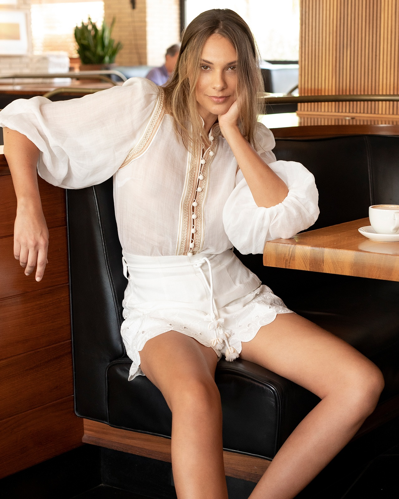 Zimmermann white blouse and shorts