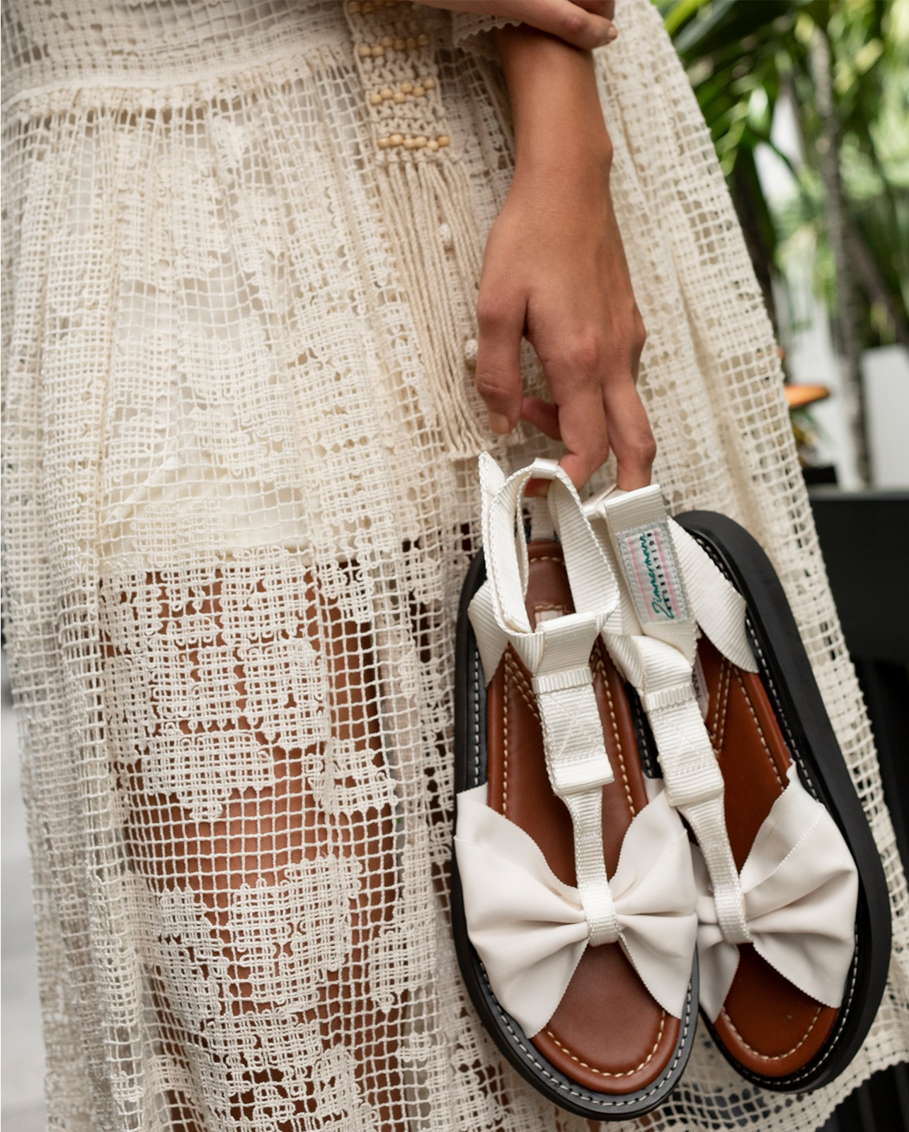 Zimmermann white canvas sandal with bow front accent