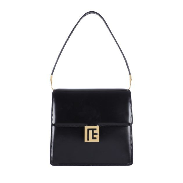 Black squared shoulder bag with front flap and gold closure