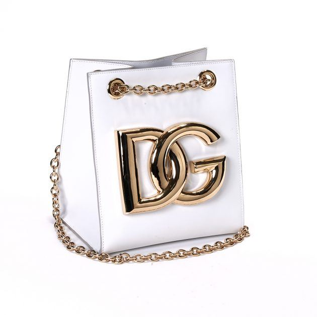 Dolce & Gabbana white bag with gold DG logo and chain strap
