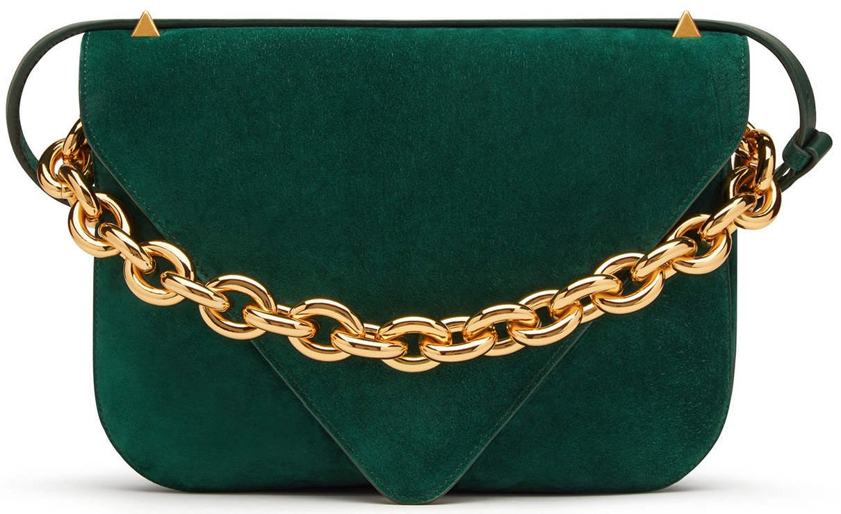 Suede envelope bag in emerald with large gold chain hardware