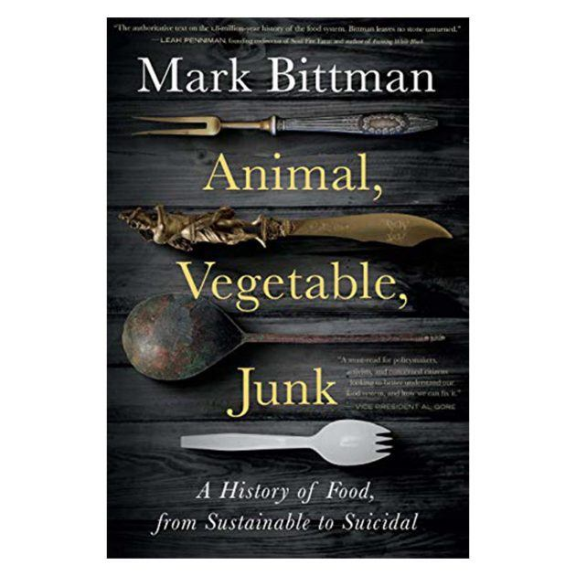 Book cover art for Animal, Vegetable, Junk by Mark Bittman, a variety of forks from historical pieces to a plastic spork