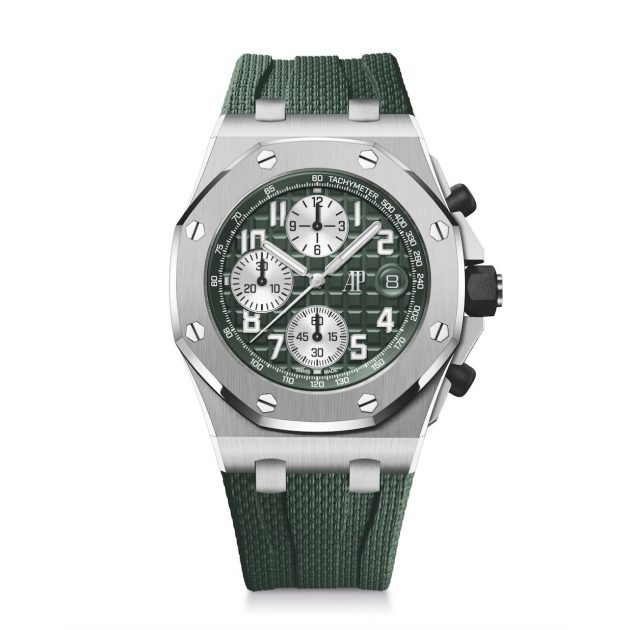 Audemars Piguet watch with silver hardware, forest green face and wristband