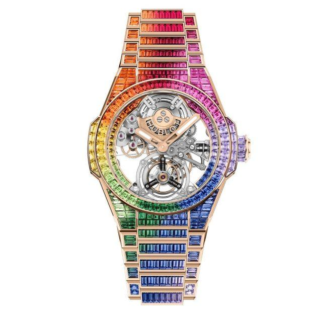 Hublot watch with rainbow encrusted diamond face and wristband