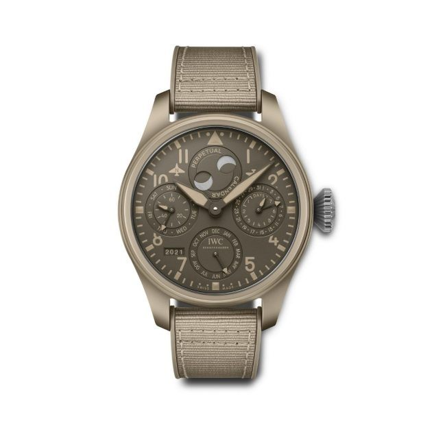 IWC watch with brown matte face and woven brown wristband