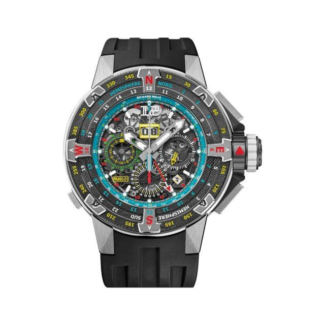 Richard Mille watch with oversized circular face and black athletic band