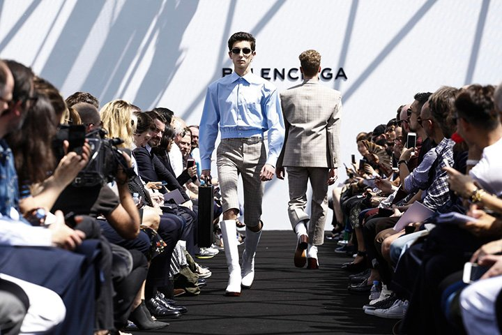 The first menswear runways show in the history of Balenciaga opened Paris menswear fashion week in a dramatic way.