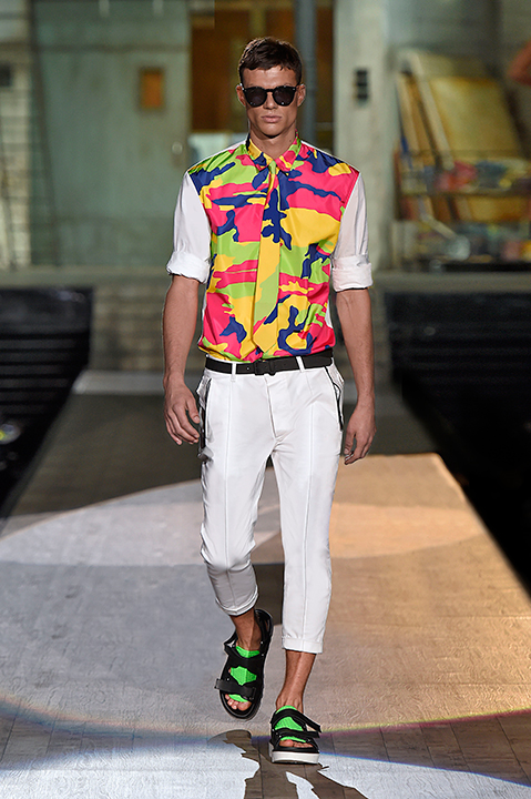01714bab71 A look from Dsquared2 s men s spring 2015 collection.