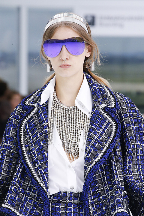 Chanel's oversized frameless sunglasses with quilting detail work on the edges.